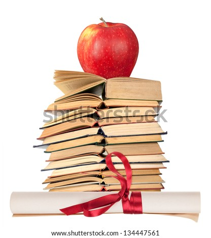 Diploma with red ribbon,books and apple - stock photo