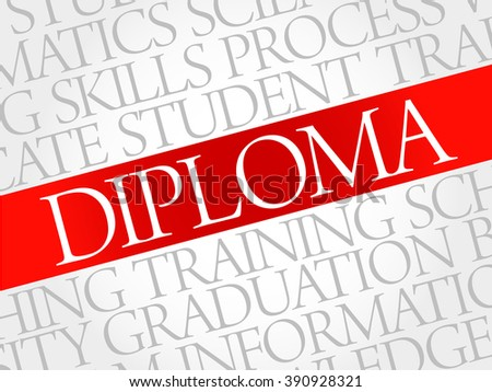 DIPLOMA word cloud, education business concept - stock photo