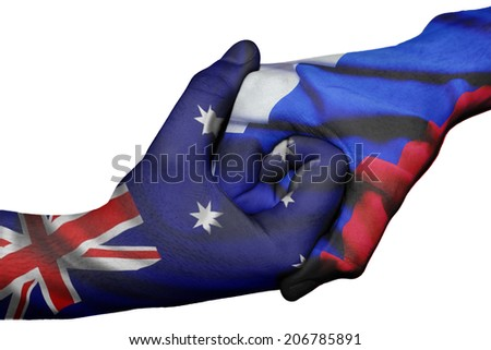 Diplomatic handshake between countries: flags of Australia and Russia overprinted the two hands - stock photo