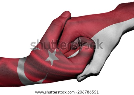 Diplomatic handshake between countries: flags of Turkey and Indonesia overprinted the two hands
