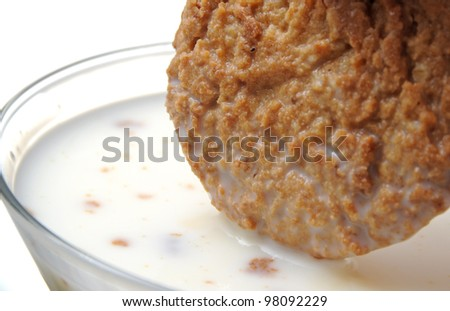 Dipping cookie - stock photo