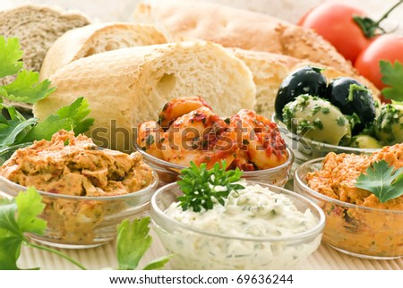 Dips with bread - stock photo