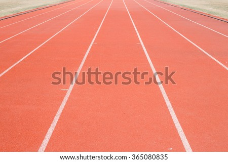 Direct athletics Running track at Sport Stadium - stock photo