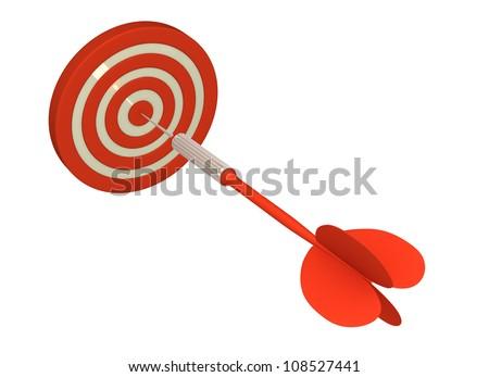 Direct Hit Bull's Eye (Isolated on White Background) - stock photo