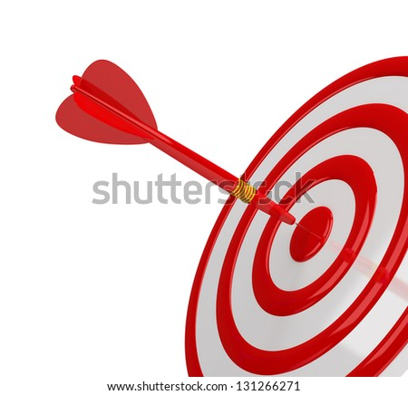 Direct hit in the center of the target. 3d image. White background. - stock photo