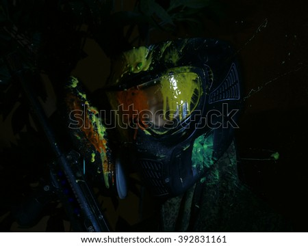 direct hit (paintball game) - stock photo