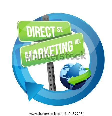 direct marketing road sign and globe illustration design over white - stock photo