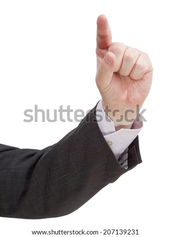 direct view of pressing forefinger - hand gesture isolated on white background - stock photo
