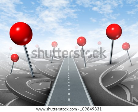 Direction Advice and choosing the right direct clear path to success with red push pins global positioning systems icon as confusing guides on the wrong roads as obstacles to financial wealth. - stock photo