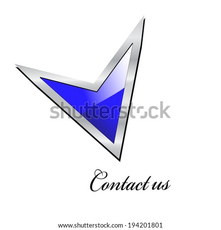 direction arrow point at Contact us - stock photo