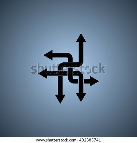 Direction arrows sign. Movement in an unknown direction. Uncertainty choice. - stock photo