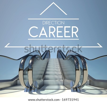 Direction career concept with stairs of success - stock photo