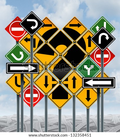 Direction choices choosing a strategy or path as a business concept with confusing different yellow red green street signs and tangled roads as dilemma questions for solutions for success on a sky. - stock photo