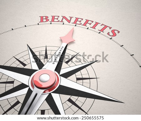 Direction of Benefits, Compass concept, 3d render - stock photo