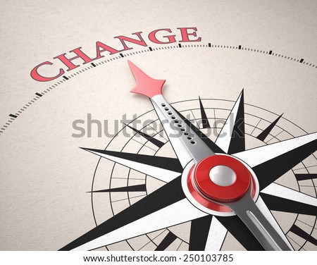 Direction of Change, Compass concept, 3d render - stock photo