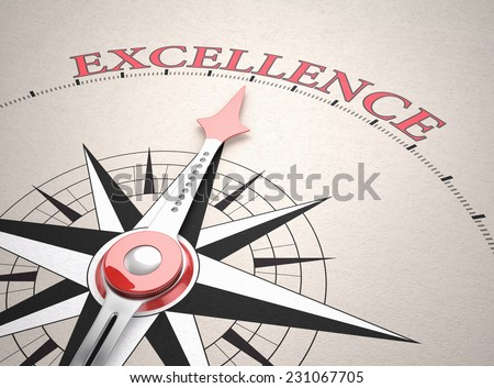 Direction of Excellence, Compass concept, 3d render - stock photo