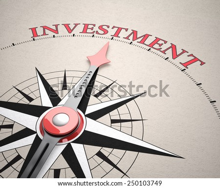 Direction of Investment, Compass concept, 3d render - stock photo