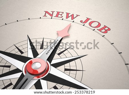 Direction of New Job, Compass concept, 3d render - stock photo