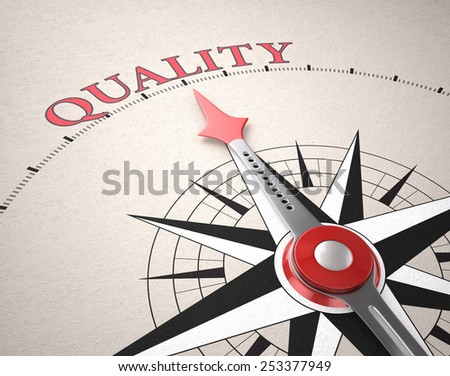 Direction of Quality, Compass concept, 3d render - stock photo
