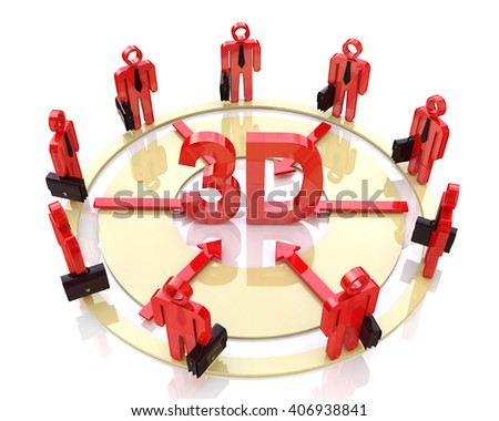 Direction of the business to 3d.3D Illustration - stock photo