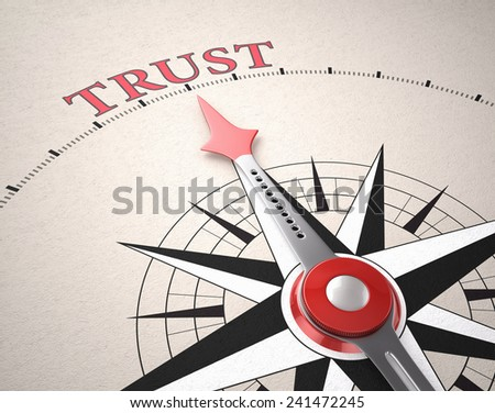 Direction of Trust, Compass concept, 3d render - stock photo