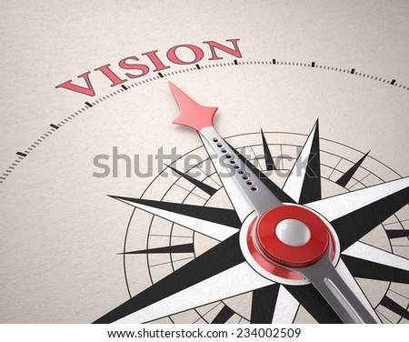 Direction of Vision, Compass concept, 3d render - stock photo