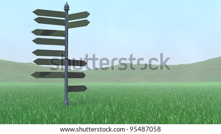 direction pointer in grass field - stock photo