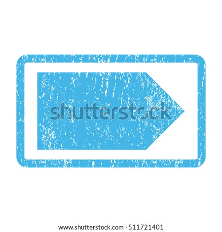 Direction Right rubber seal stamp watermark. Glyph icon symbol inside rounded rectangle with grunge design and scratched texture. Scratched blue ink sign print on a white background.