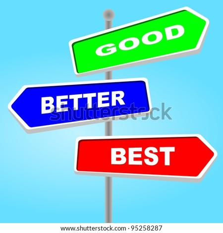 Direction sign - good better best - stock photo
