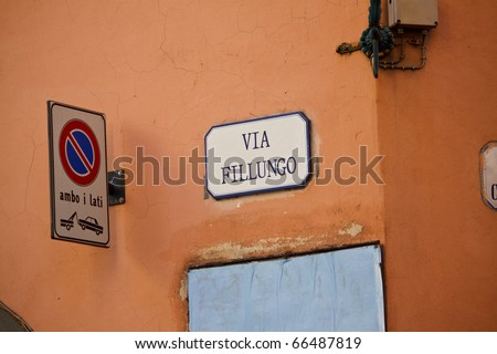 direction sign in Lucca, Italy - stock photo