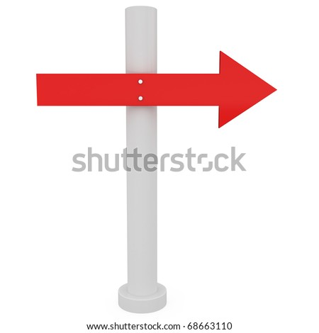 Direction Sign Isolated on white - 3d illustration - stock photo
