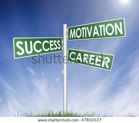 direction sign (tree) of success, motivation and career