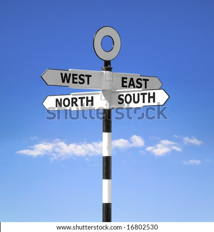 direction signpost showing compass points north south west stock