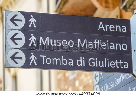 Direction signs in the historic city center of Verona - VERONA, ITALY - JUNE 30, 2016