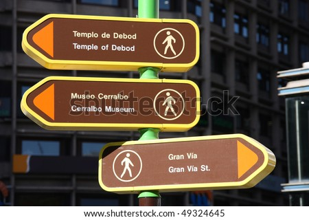 Direction signs to popular landmarks in Madrid, Spain - stock photo