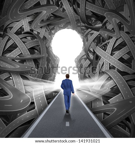 Direction solutions as a business leadership concept with a businessman walking to a glowing key hole shape opening as a straight path to success through a confused maze of tangled roads or highways. - stock photo