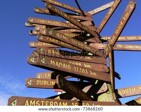 Direction to different places of the world indicated in a street sign.  Photo taken in South Australia. - stock photo