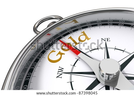 direction towards gold indicated by concept compass on white background