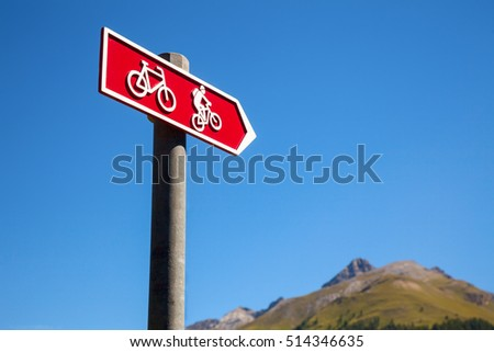 Directional sign on a cycle route in Switzerland