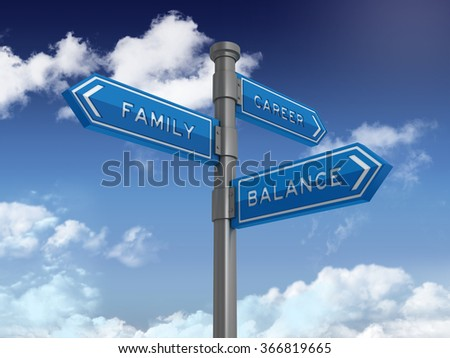 Directional Sign Series: FAMILY CAREER BALANCE - Blue Sky and Clouds Background - High Quality 3D Rendering - stock photo