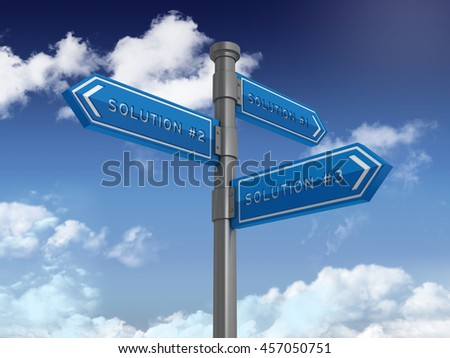 Directional Sign Series: SOLUTIONS - Blue Sky and Clouds Background - High Quality 3D Rendering / Illustration