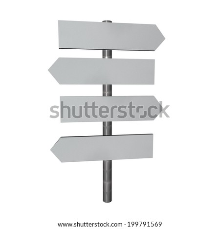 Directional sign with four cartels, 3d render, isolated over white - stock photo