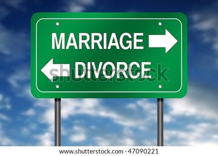 "Directional Sign with ""Marriage and Divorce"""