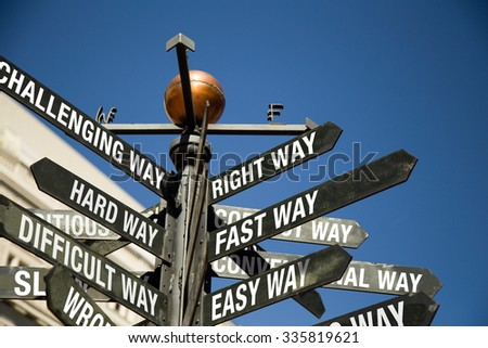 Directional Signage.  Right way, Fast way, Easy way, Challenging way, Hard way, Difficult way.  - stock photo