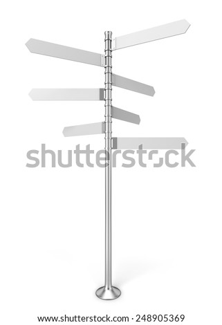 Directional signpost. 3d illustration isolated on white background