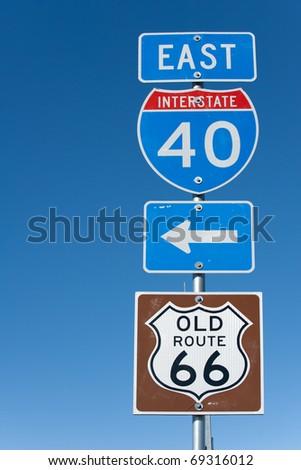 Directional signs along US Interstate I-40 in Texas - stock photo