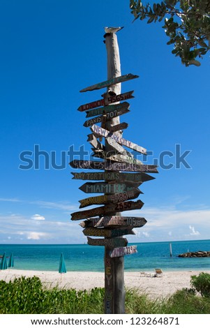 Directional Signs on Key West beach, Florida - stock photo