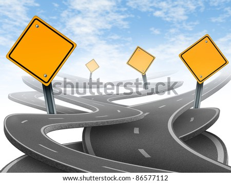 Directions and confusion representing dilemma and concept of choosing the right strategic path for business with a blank yellow traffic signs tangled roads and highways in a confused direction.
