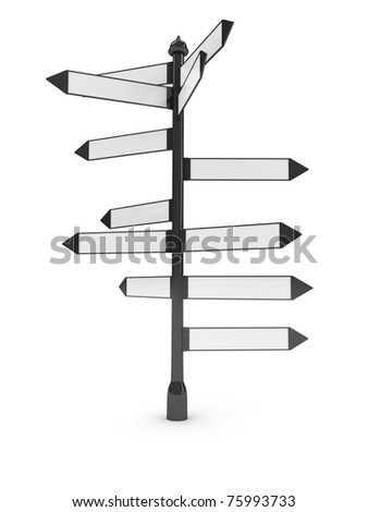Directions signs over white background. computer generated image - stock photo