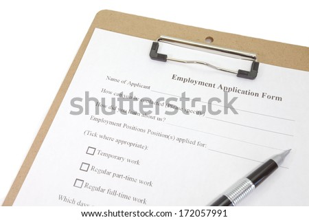 Directly above photograph of a job application  - stock photo